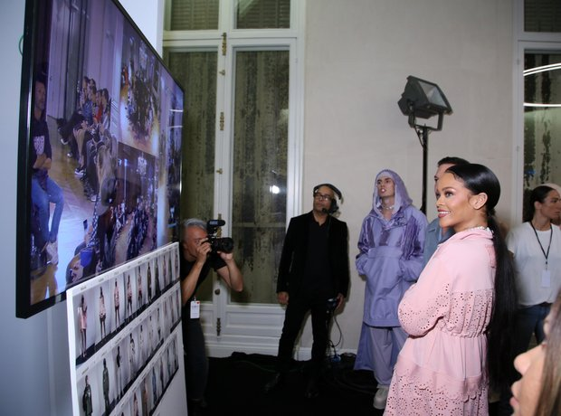 Rihanna backstage during Fenty x Puma fashion show