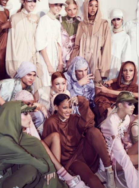 Rihanna with her models at puma show