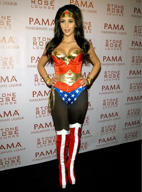 kim came to save the day back in 2008 dressed in her superhero wonder woman costume