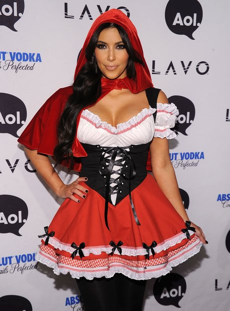 5 were throwing it back to kims little red riding hood outfit she even wore black tights