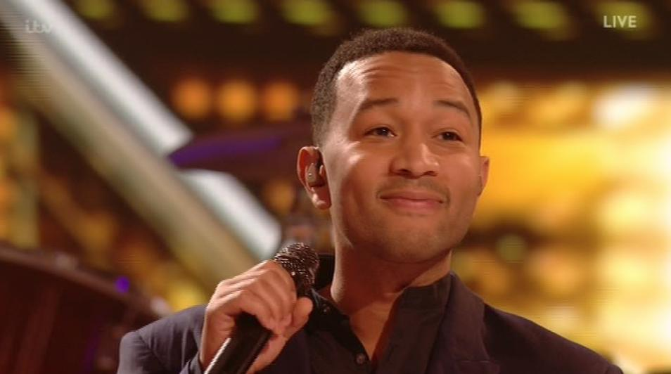 John Legend looking awkward on X Factor