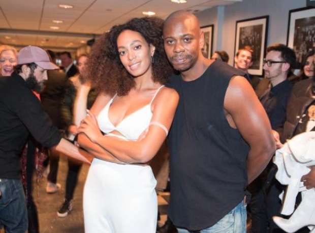 Solange and comedian David Chappelle at SNL