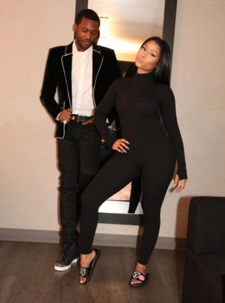 Nicki Minaj and Meek Mill backstage at the AMA's