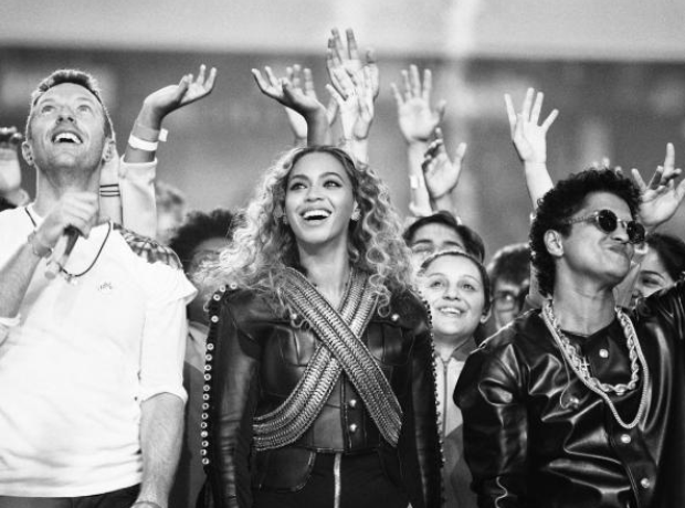 Beyonce With Chris Martin and Bruno Mars at the Su