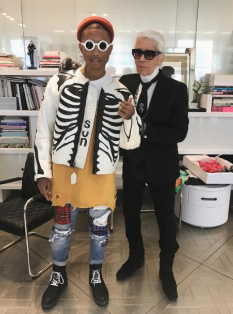Pharrell Williams and Karl Lagerfeld