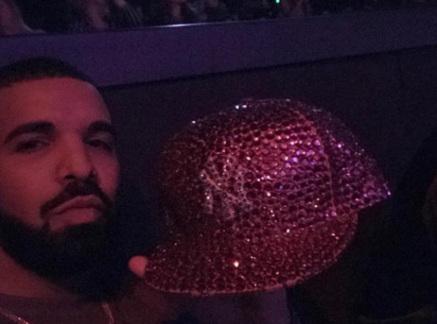 Drake with JLo's diamond cap