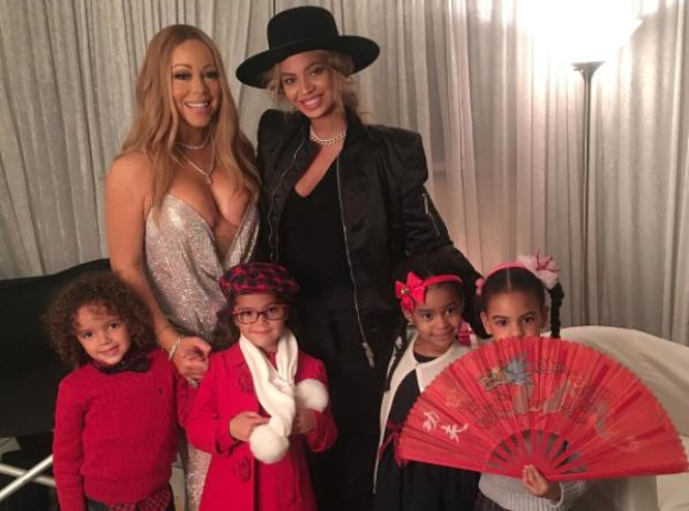 Mariah Carey and Beyonce with their children