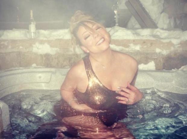 Mariah Carey in a hot tub in Aspen