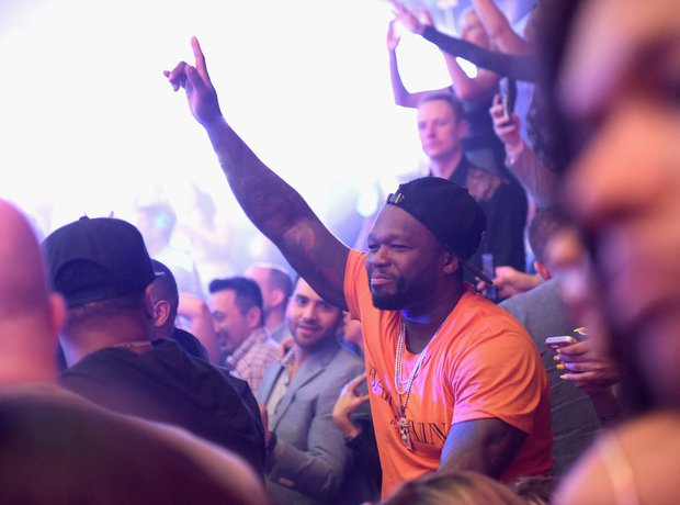 50 Cent partying at a Superbowl party.