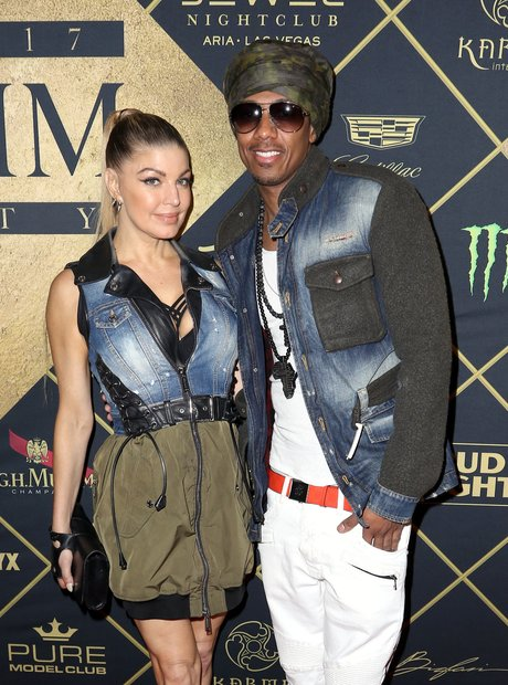 Fergie and Nick Cannon at the MAXIM Super Bowl par