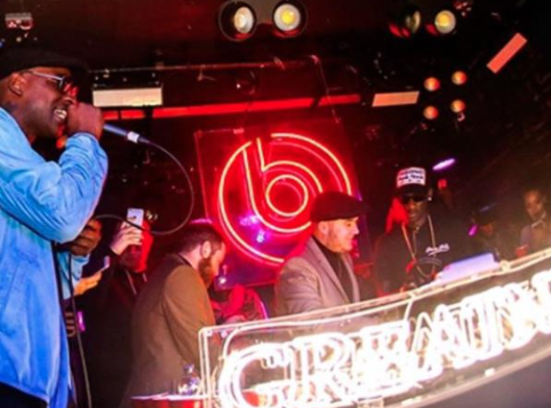 Skepta performing at the Beats BRITs afterparty