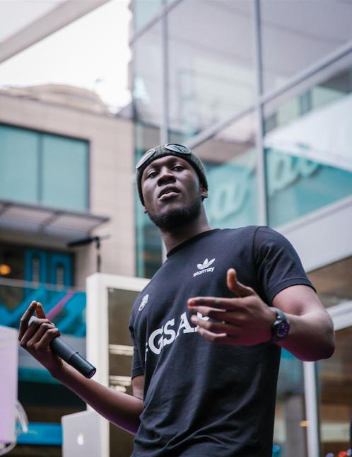 Stormzy performing at Westfield White City