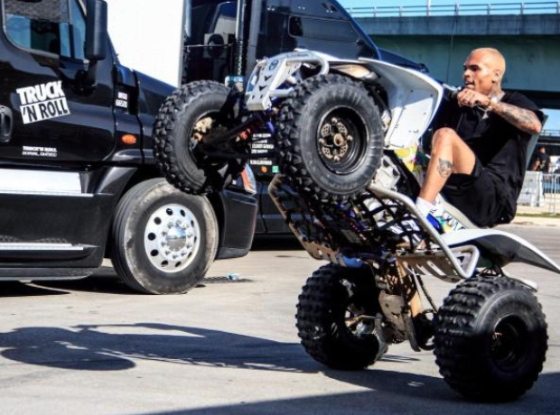 Chris Brown on a quad bike