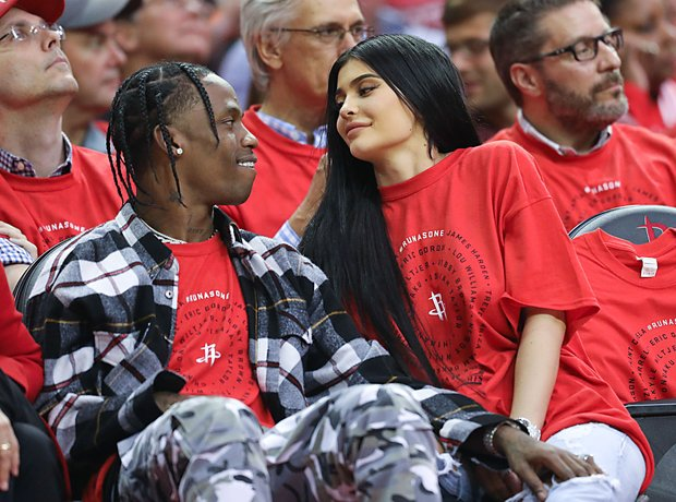 Travis Scott and Kylie Jenner at Rockets Game