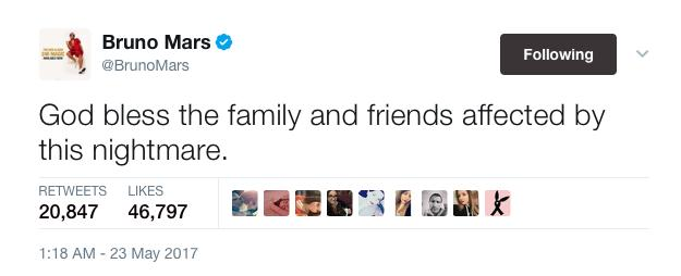 Bruno Mars Manchester tweet