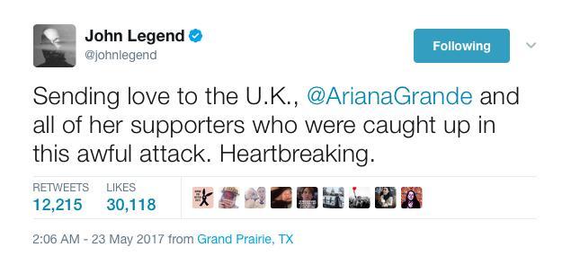 John Legend Manchester Tweet