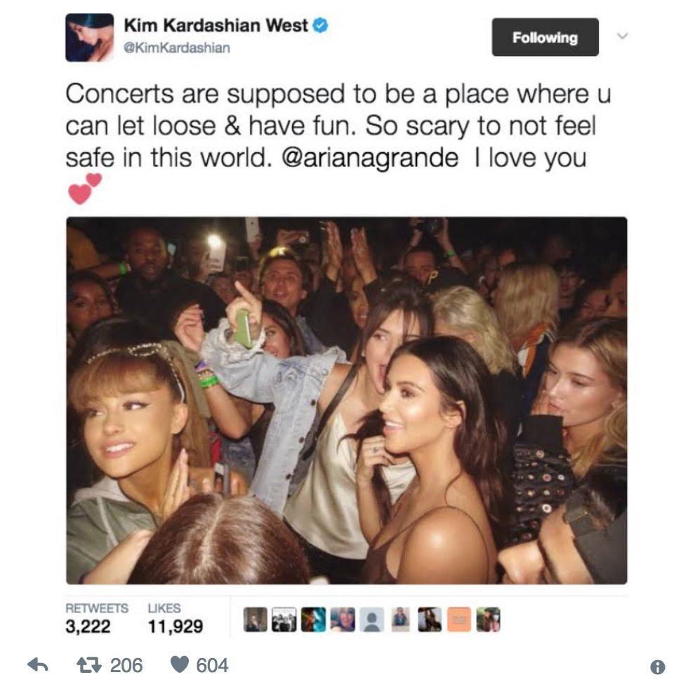 Kim Kardashian Manchester Tweet