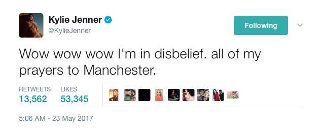 Kylie Jenner Manchester Tweet