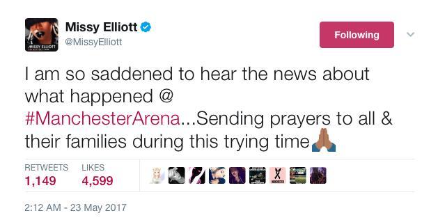 Missy Elliot Manchester Tweet