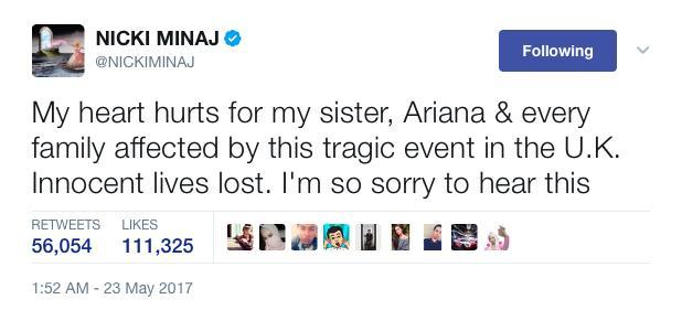 Nicki Minaj Manchester tweet