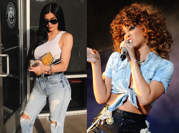 Kylie Jenner and Rihanna in denim