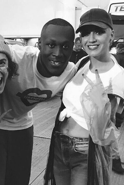 Stormzy and Katy Perry hang out backstage at Glast