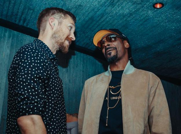 Calvin Harris album launch party with Snoop Dogg