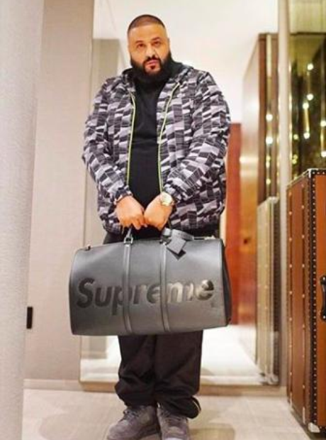 DJ Khaled and his new Supreme bag