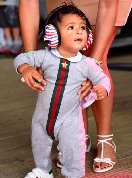 Asahd Khaled wore some patriotic headphones.