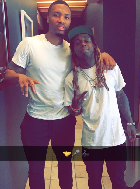 Lil Wayne Studio With Damian Lillard
