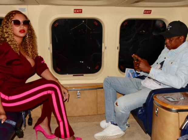 Beyonce and Jay Z on their private jet