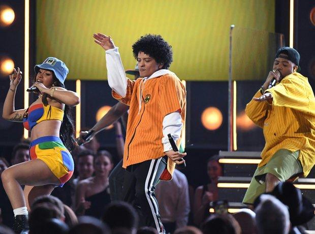 Cardi B and Bruno Mars at the Grammy Awards 2018