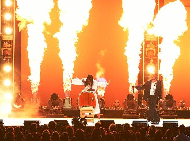 Kendrick Lamar performing at the Grammys 2018