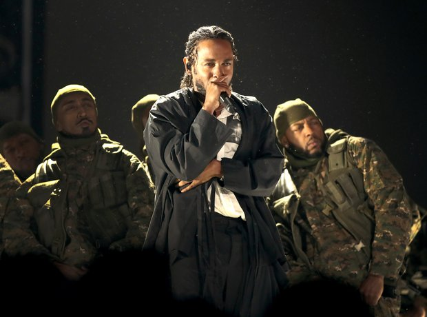 Kendrick Lamar performing at the Grammys 2018