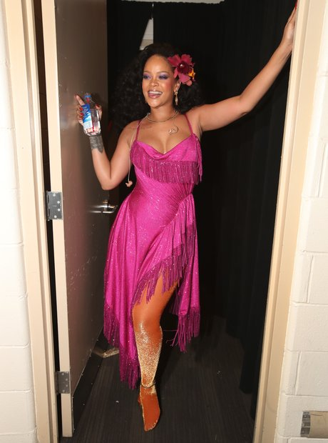 Rihanna backstage at the Grammy Awards