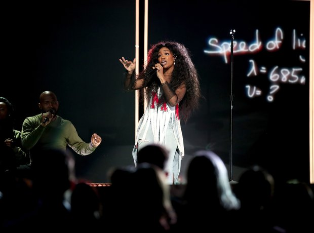 SZA performing at the Grammys 2018