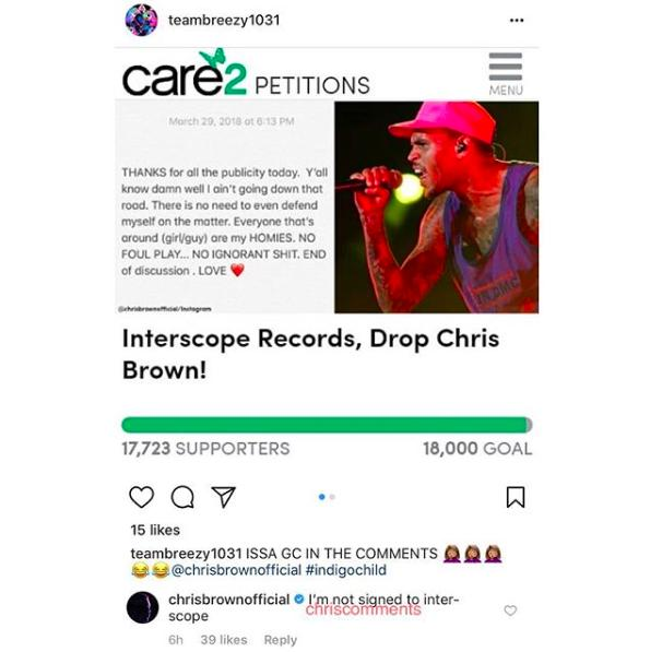 Chris Brown comments