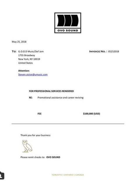 And Drake Posted It On Instagram The Complete History Of Drake - Drake invoice
