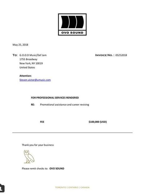 Drake invoice to Kanye West