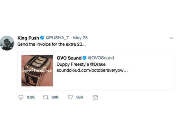 Pusha T Told Drake To Send Him The Invoice He Cheekily Requested - Drake invoice