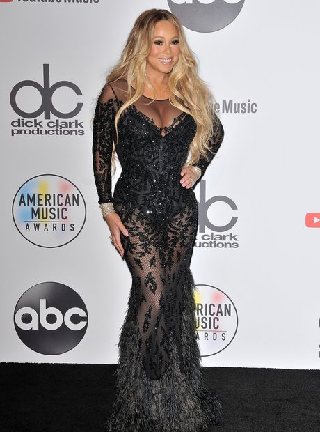 Mariah Carey AMAs 2018 Red Carpet Black Dress