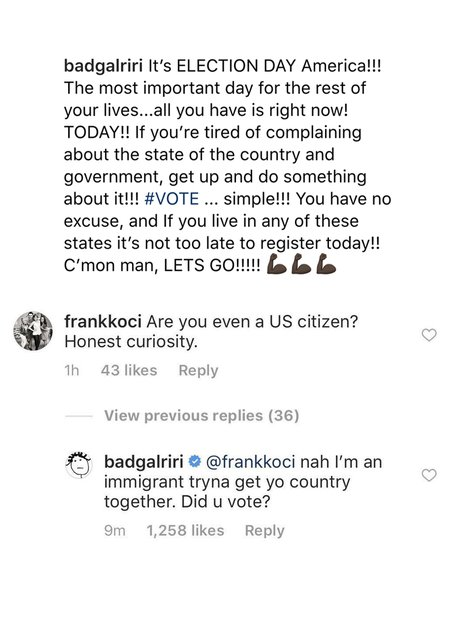 Rihanna immigrant instagram reply