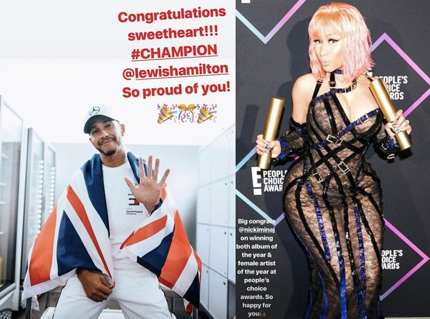 Nicki and Lewis congratulate each other on Insta