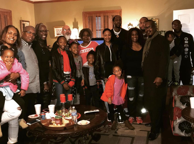 2 Chainz and his family on Thanksgiving 2018